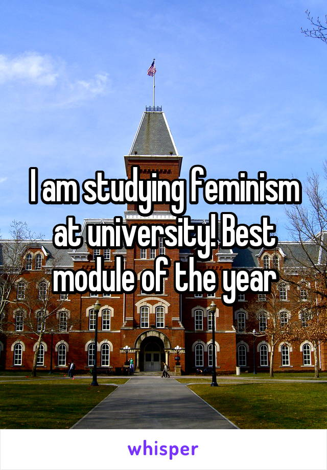 I am studying feminism at university! Best module of the year