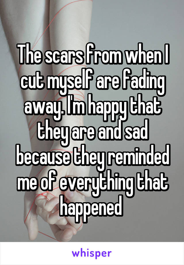 The scars from when I cut myself are fading away. I'm happy that they are and sad because they reminded me of everything that happened