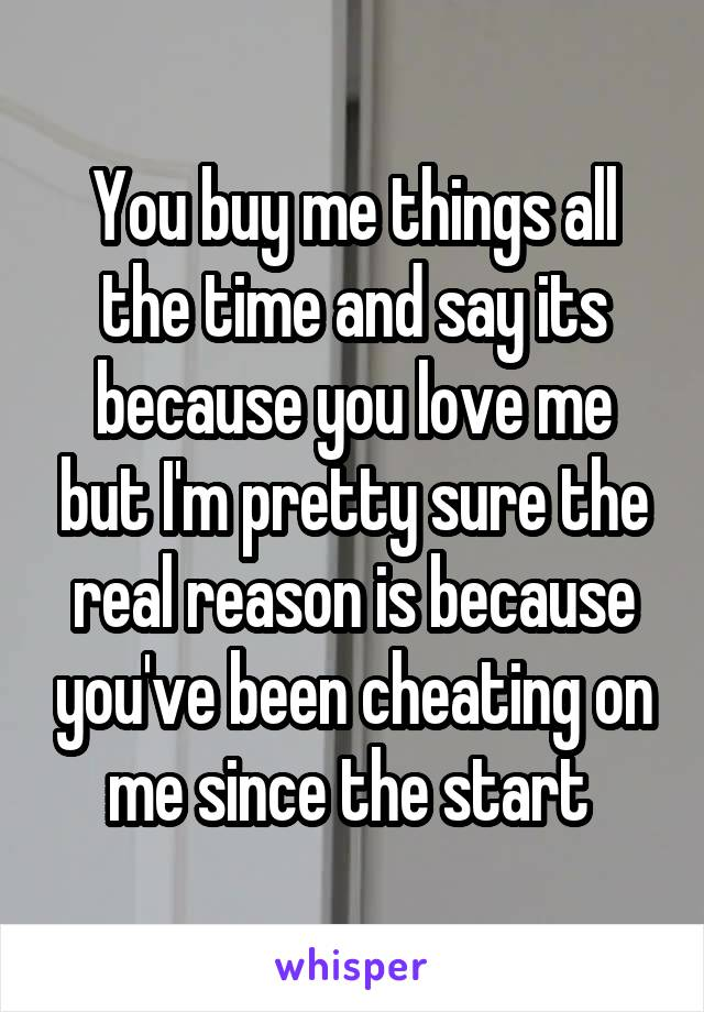 You buy me things all the time and say its because you love me but I'm pretty sure the real reason is because you've been cheating on me since the start