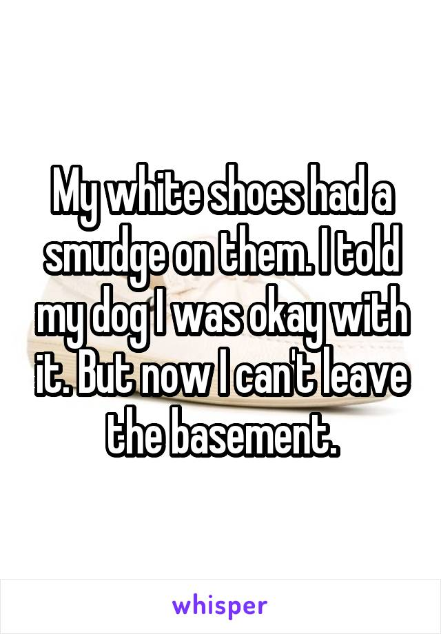 My white shoes had a smudge on them. I told my dog I was okay with it. But now I can't leave the basement.