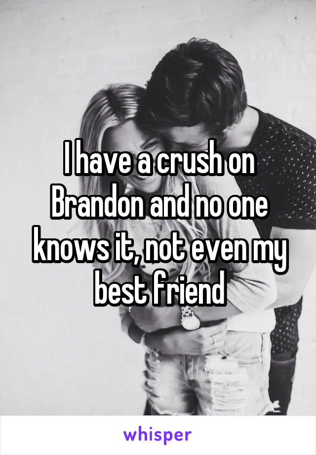 I have a crush on Brandon and no one knows it, not even my best friend
