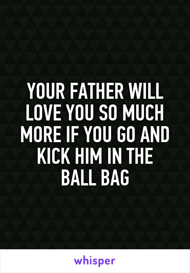 YOUR FATHER WILL LOVE YOU SO MUCH MORE IF YOU GO AND KICK HIM IN THE BALL BAG