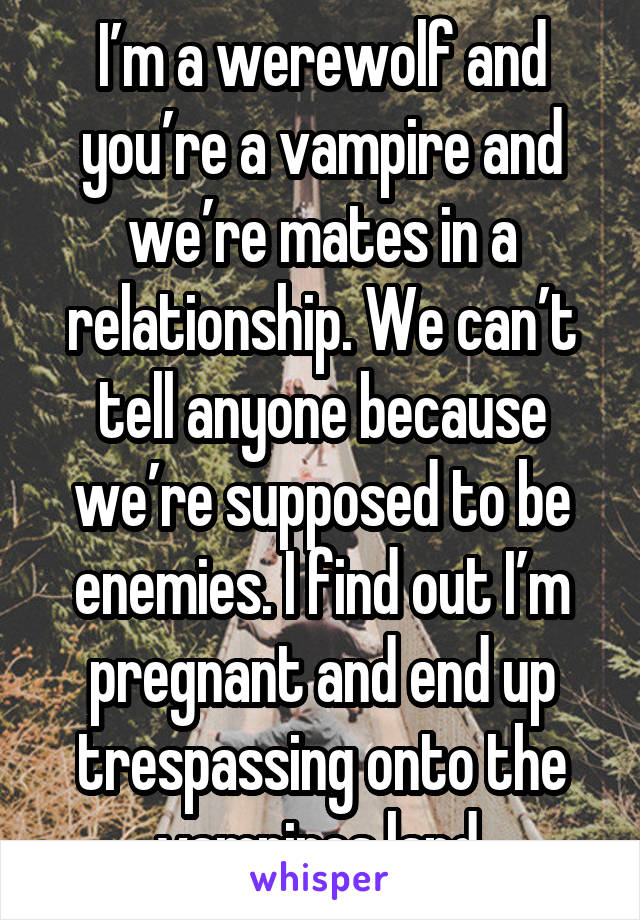 I'm a werewolf and you're a vampire and we're mates in a relationship. We can't tell anyone because we're supposed to be enemies. I find out I'm pregnant and end up trespassing onto the vampires land.