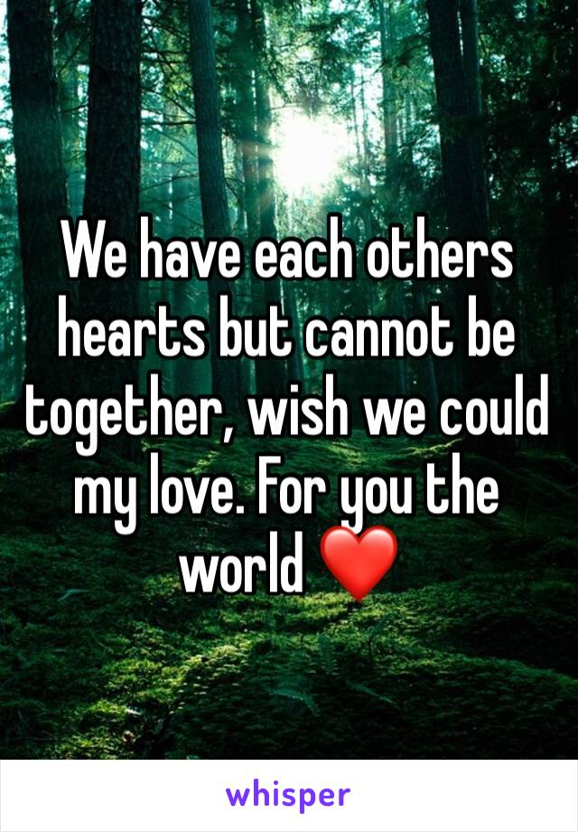 We have each others hearts but cannot be together, wish we could my love. For you the world ❤️