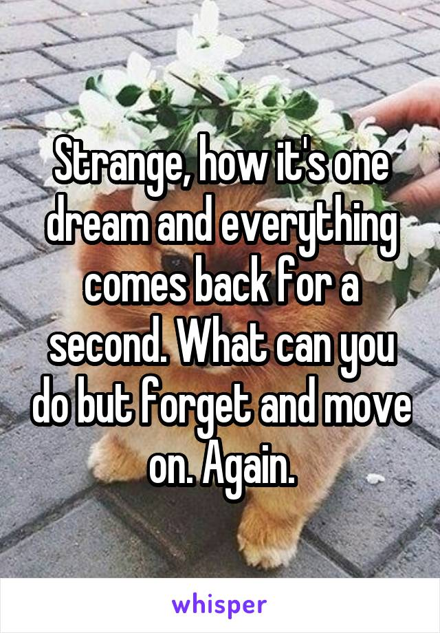 Strange, how it's one dream and everything comes back for a second. What can you do but forget and move on. Again.
