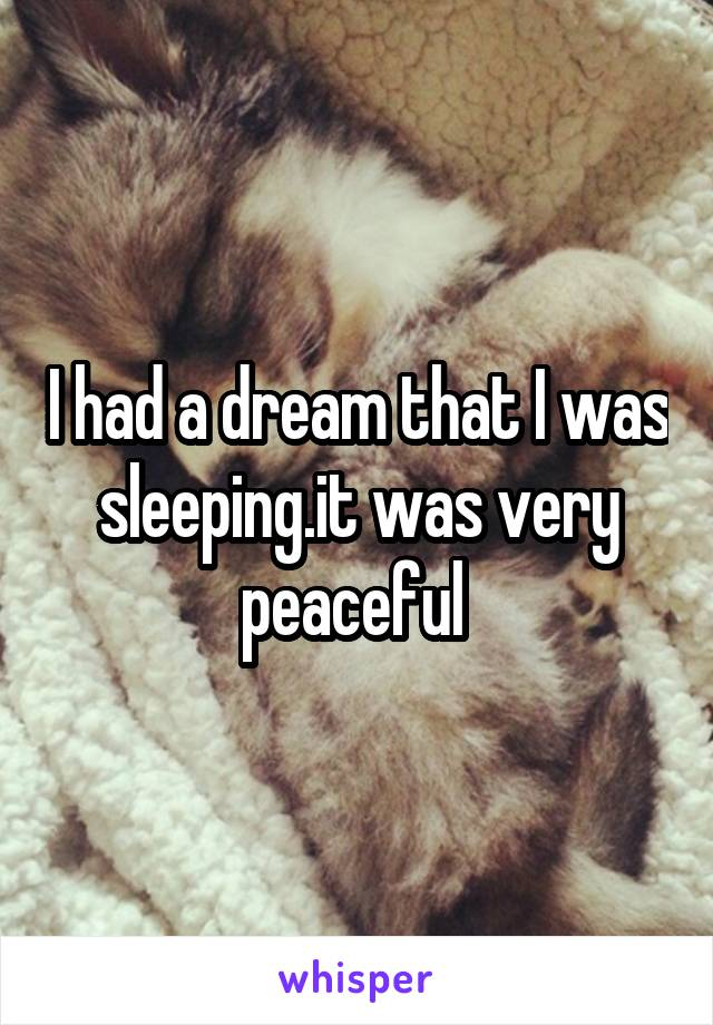 I had a dream that I was sleeping.it was very peaceful
