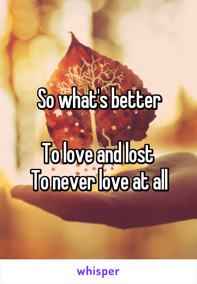 So what's better  To love and lost  To never love at all