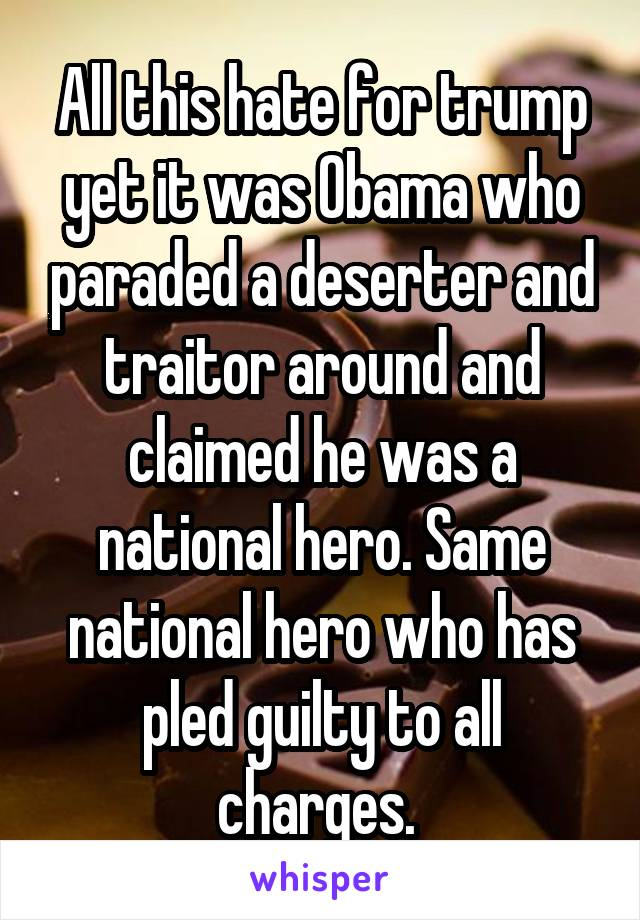 All this hate for trump yet it was Obama who paraded a deserter and traitor around and claimed he was a national hero. Same national hero who has pled guilty to all charges.