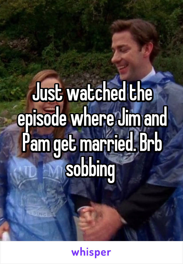 Just watched the episode where Jim and Pam get married. Brb sobbing