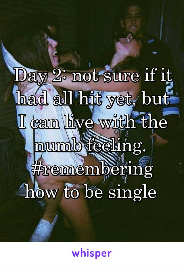 Day 2: not sure if it had all hit yet, but I can live with the numb feeling.  #remembering how to be single