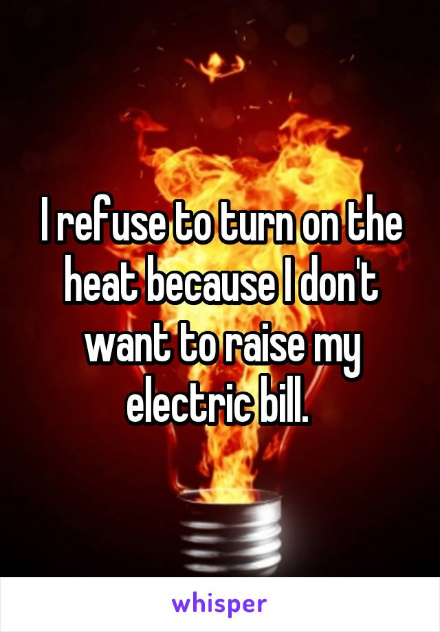 I refuse to turn on the heat because I don't want to raise my electric bill.