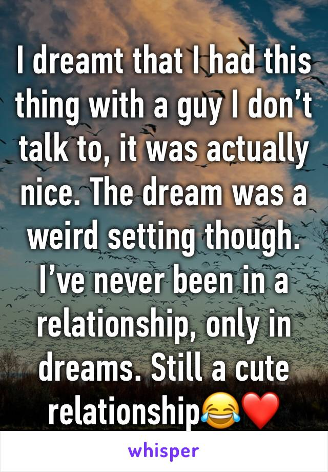 I dreamt that I had this thing with a guy I don't talk to, it was actually nice. The dream was a weird setting though. I've never been in a relationship, only in dreams. Still a cute relationship😂❤️