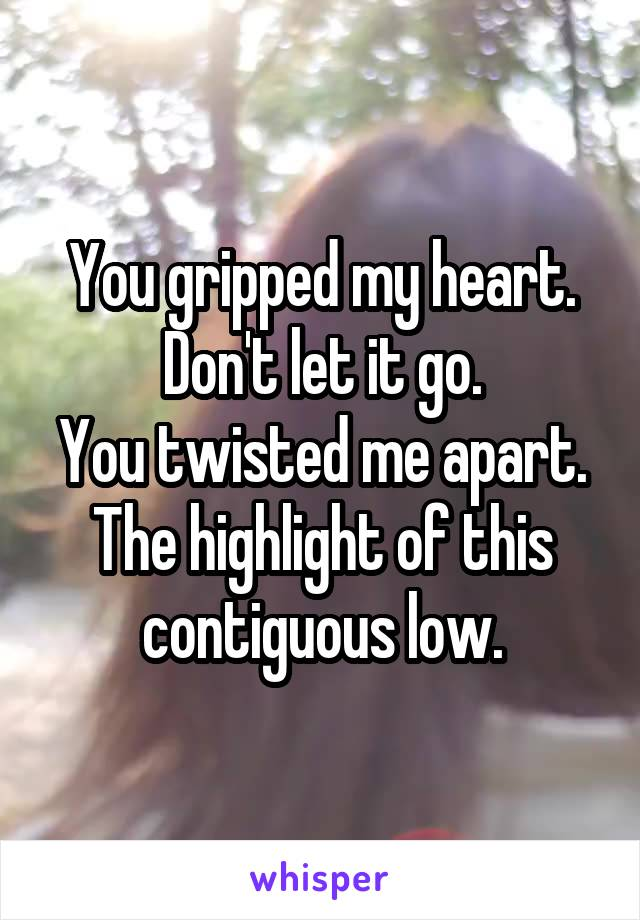 You gripped my heart. Don't let it go. You twisted me apart. The highlight of this contiguous low.
