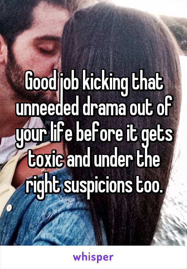 Good job kicking that unneeded drama out of your life before it gets toxic and under the right suspicions too.