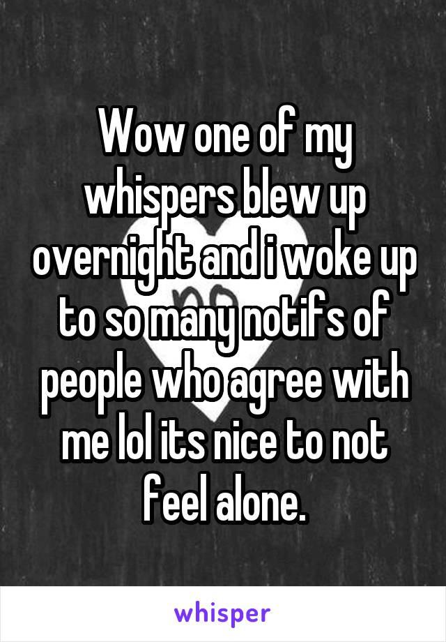 Wow one of my whispers blew up overnight and i woke up to so many notifs of people who agree with me lol its nice to not feel alone.