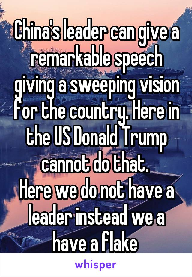 China's leader can give a remarkable speech giving a sweeping vision for the country. Here in the US Donald Trump cannot do that.  Here we do not have a leader instead we a have a flake