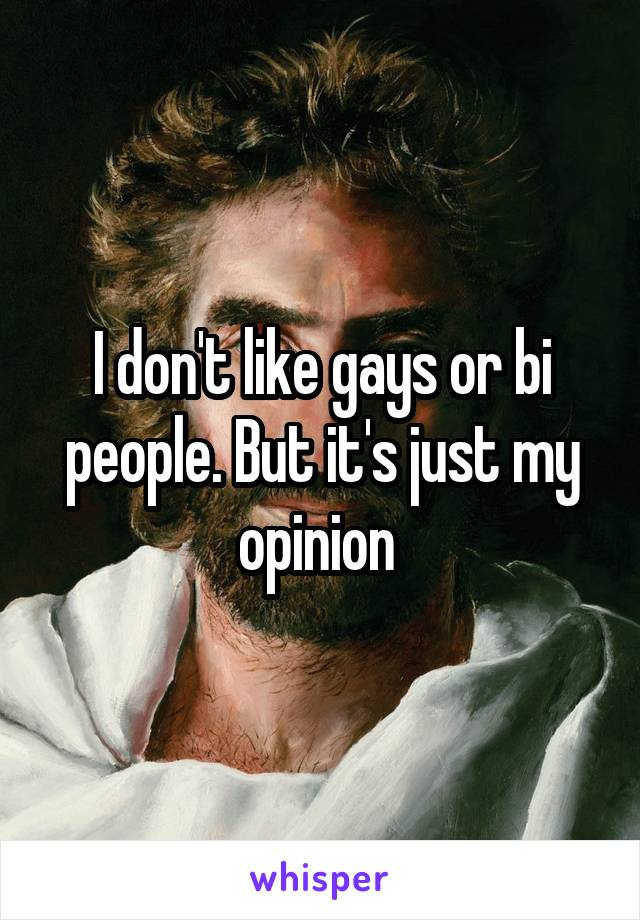 I don't like gays or bi people. But it's just my opinion