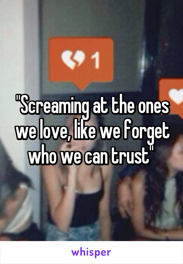 """""""Screaming at the ones we love, like we forget who we can trust"""""""