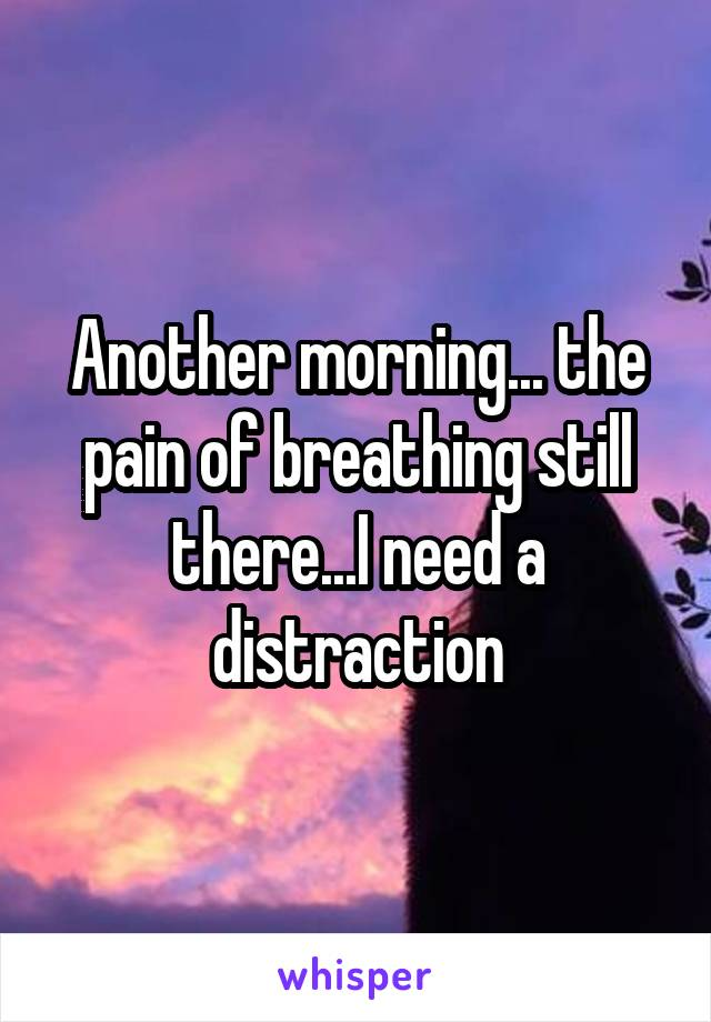 Another morning... the pain of breathing still there...I need a distraction