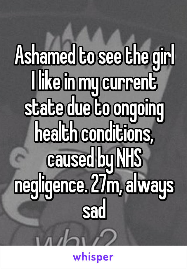 Ashamed to see the girl I like in my current state due to ongoing health conditions, caused by NHS negligence. 27m, always sad