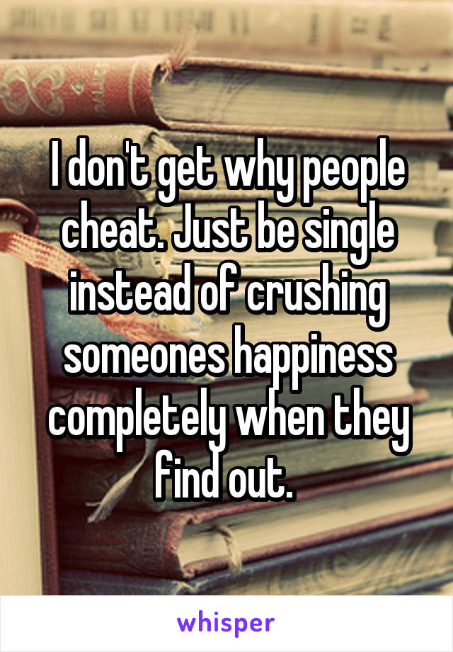 I don't get why people cheat. Just be single instead of crushing someones happiness completely when they find out.