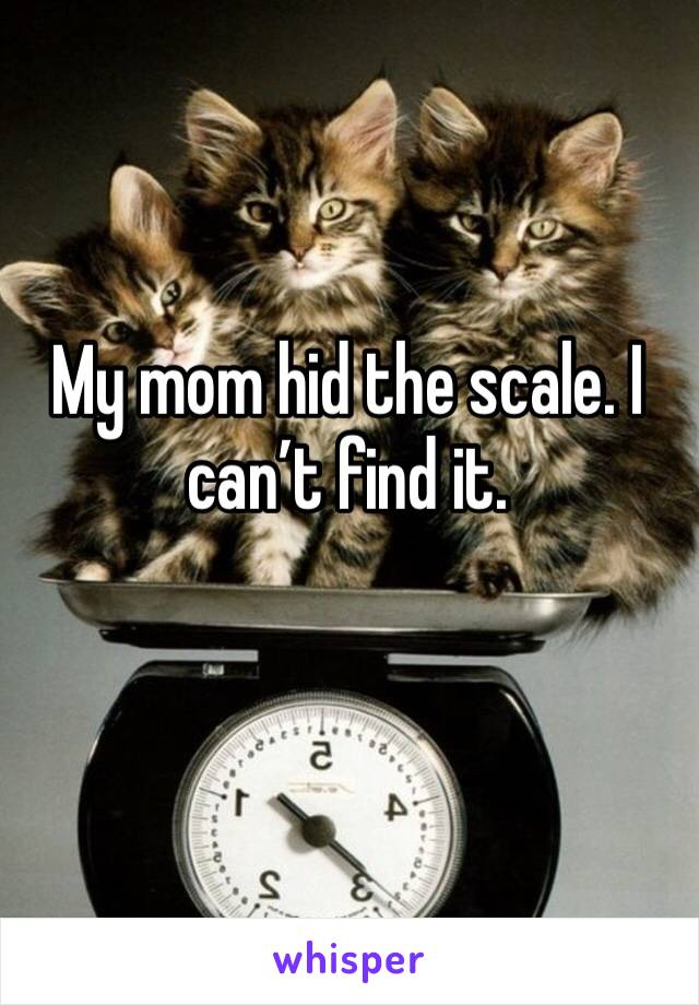 My mom hid the scale. I can't find it.