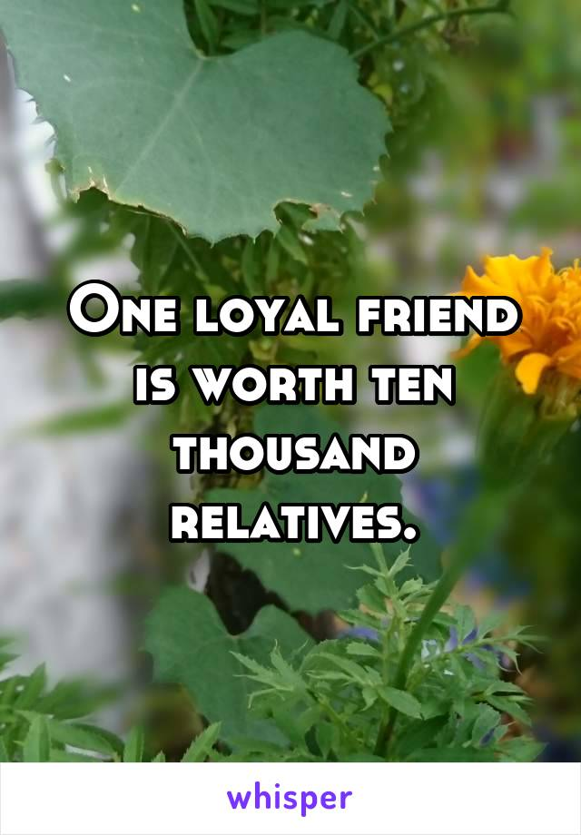 One loyal friend is worth ten thousand relatives.