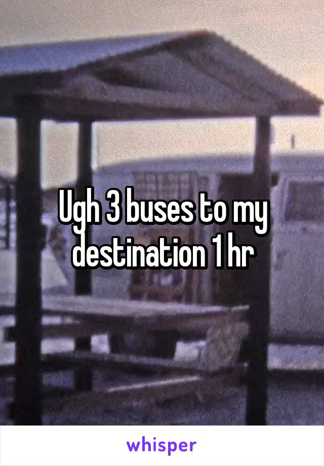 Ugh 3 buses to my destination 1 hr