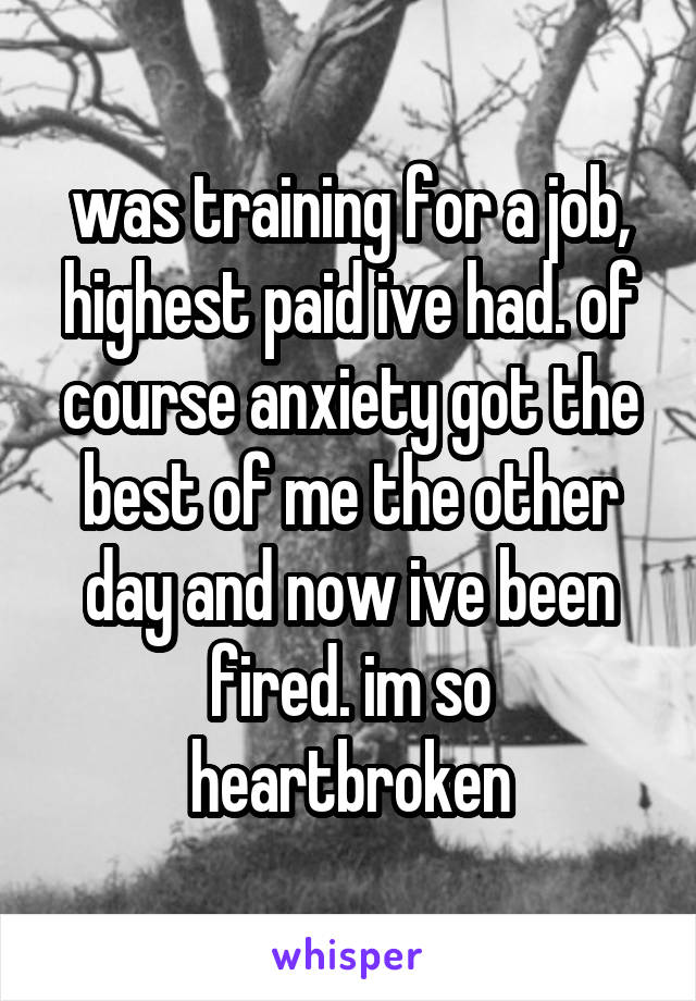 was training for a job, highest paid ive had. of course anxiety got the best of me the other day and now ive been fired. im so heartbroken