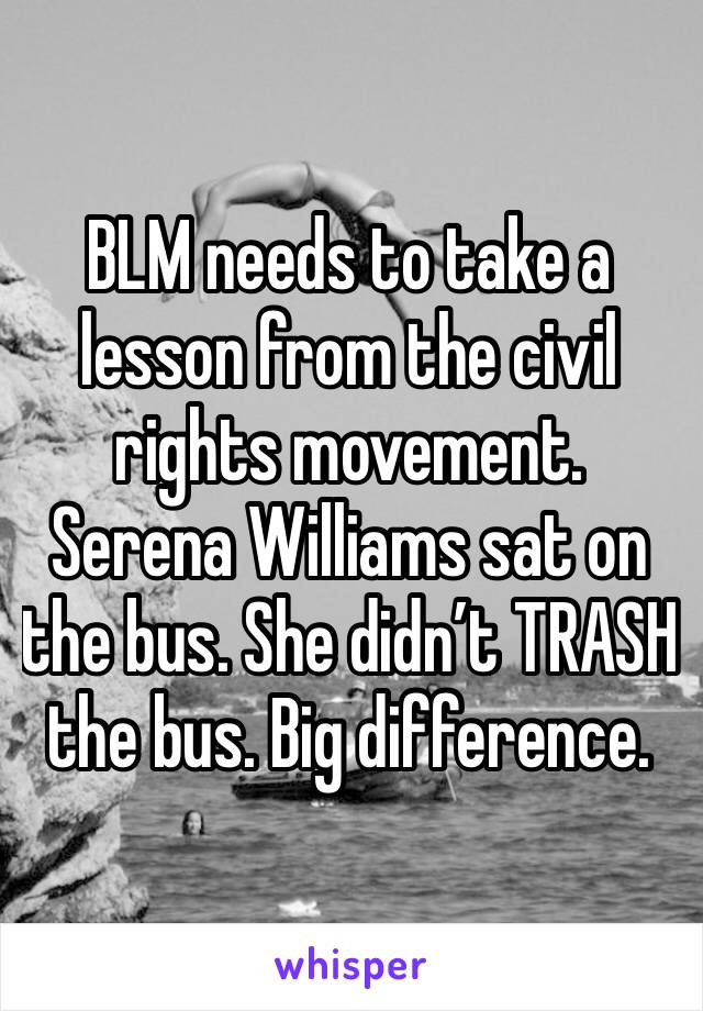 BLM needs to take a lesson from the civil rights movement. Serena Williams sat on the bus. She didn't TRASH the bus. Big difference.