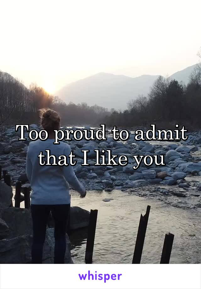 Too proud to admit that I like you