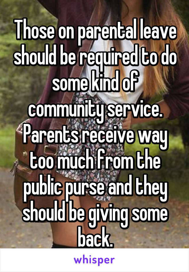 Those on parental leave should be required to do some kind of community service. Parents receive way too much from the public purse and they should be giving some back.