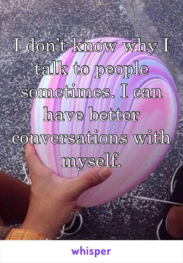 I don't know why I talk to people sometimes. I can have better conversations with myself.