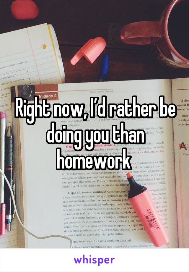 Right now, I'd rather be doing you than homework