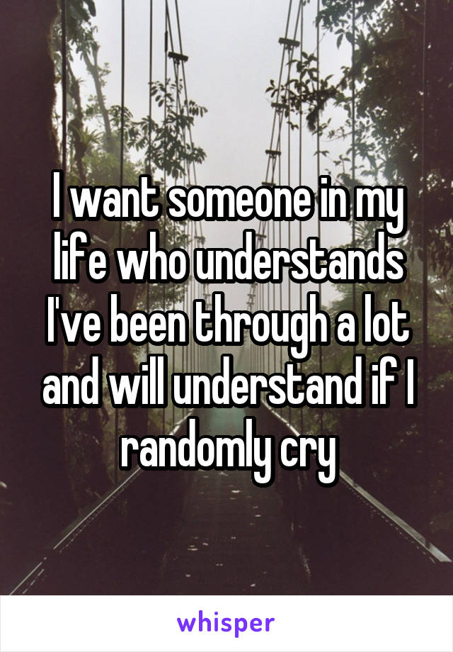 I want someone in my life who understands I've been through a lot and will understand if I randomly cry