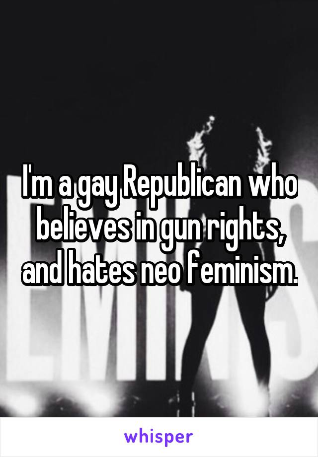 I'm a gay Republican who believes in gun rights, and hates neo feminism.