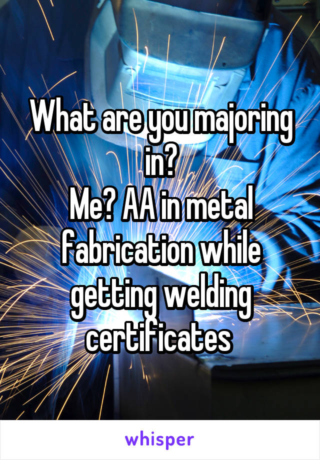 What are you majoring in? Me? AA in metal fabrication while getting welding certificates