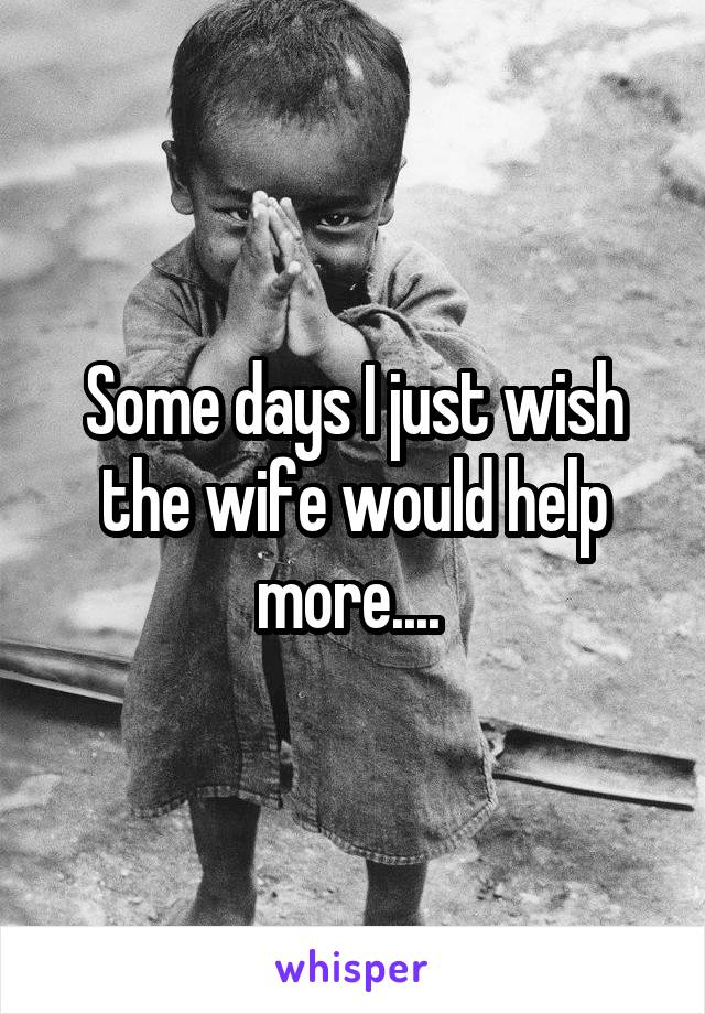 Some days I just wish the wife would help more....