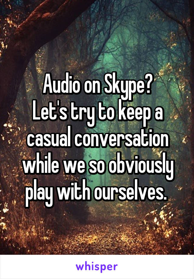 Audio on Skype? Let's try to keep a casual conversation while we so obviously play with ourselves.