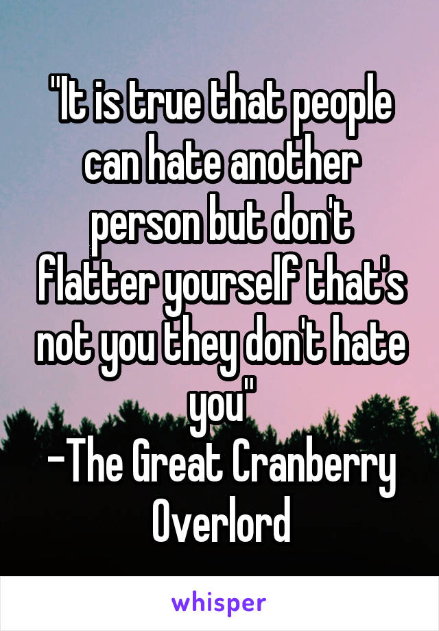 """It is true that people can hate another person but don't flatter yourself that's not you they don't hate you"" -The Great Cranberry Overlord"