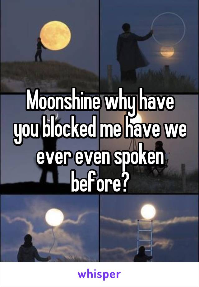 Moonshine why have you blocked me have we ever even spoken before?