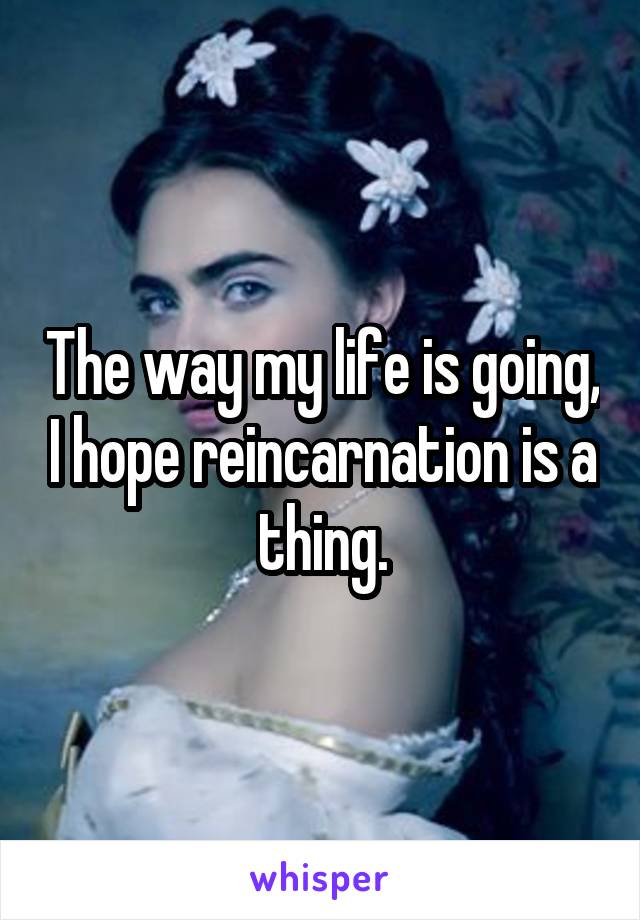 The way my life is going, I hope reincarnation is a thing.