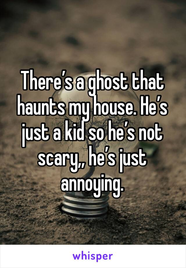 There's a ghost that haunts my house. He's just a kid so he's not scary,, he's just annoying.
