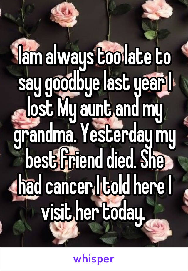 Iam always too late to say goodbye last year I lost My aunt and my grandma. Yesterday my best friend died. She had cancer I told here I visit her today.