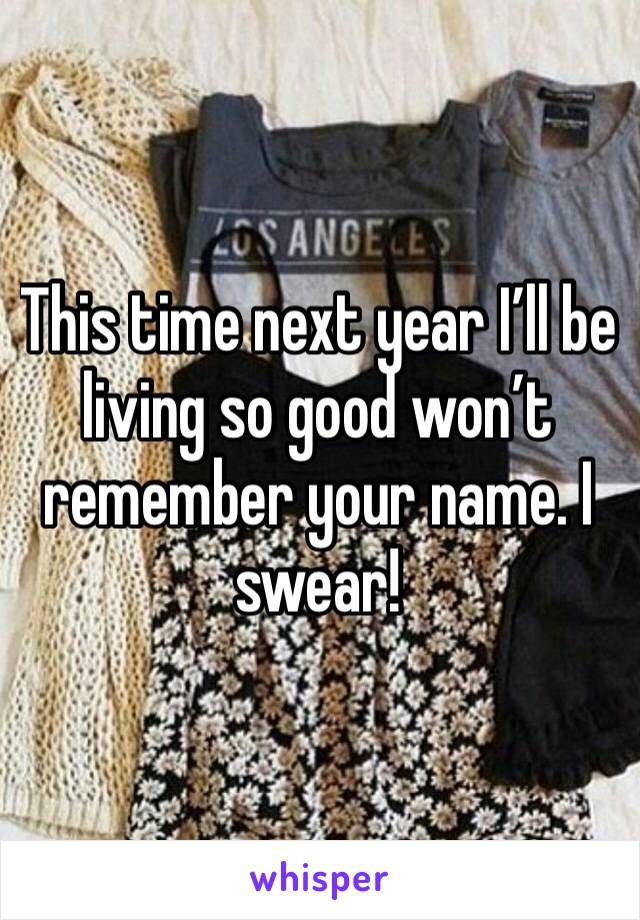This time next year I'll be living so good won't remember your name. I swear!