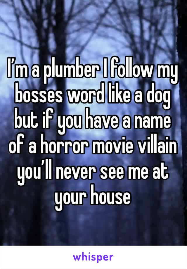 I'm a plumber I follow my bosses word like a dog but if you have a name of a horror movie villain you'll never see me at your house