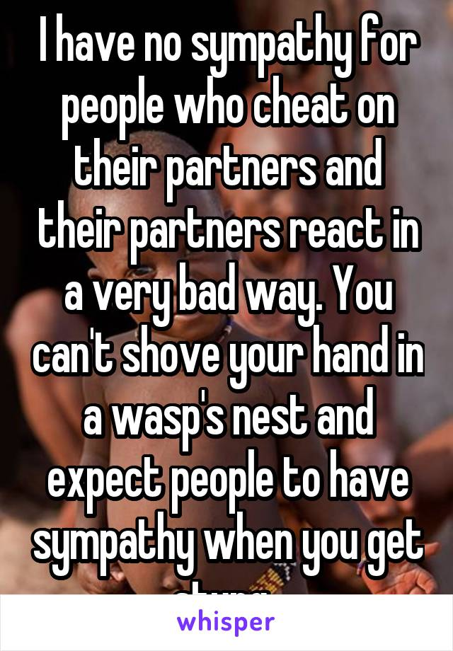 I have no sympathy for people who cheat on their partners and their partners react in a very bad way. You can't shove your hand in a wasp's nest and expect people to have sympathy when you get stung..