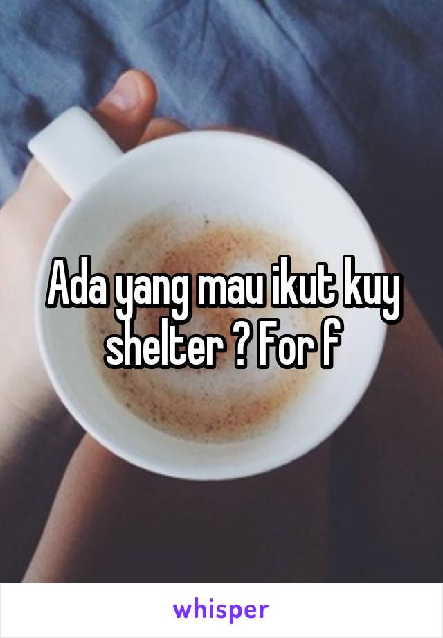 Ada yang mau ikut kuy shelter ? For f
