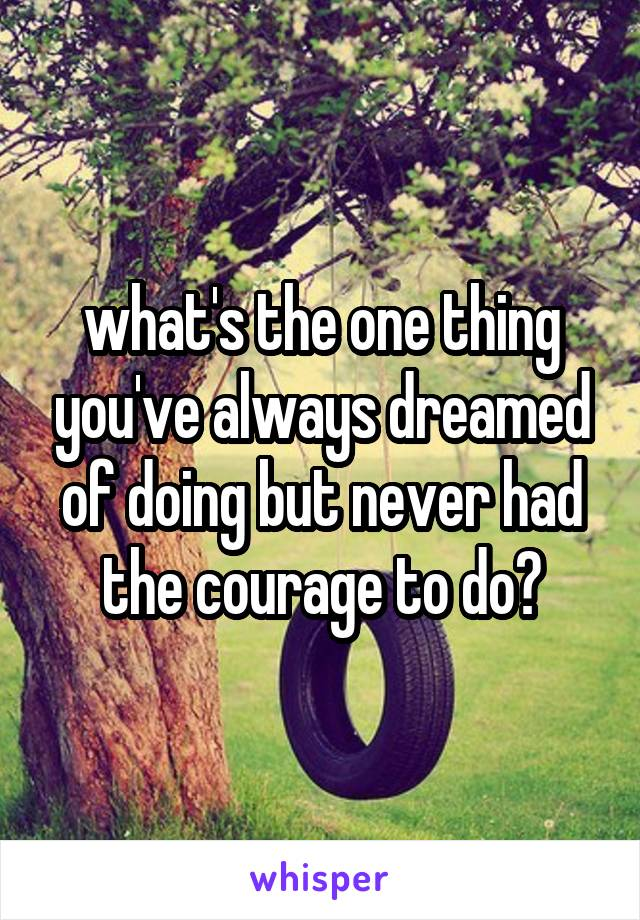 what's the one thing you've always dreamed of doing but never had the courage to do?