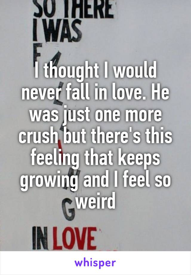 I thought I would never fall in love. He was just one more crush but there's this feeling that keeps growing and I feel so weird